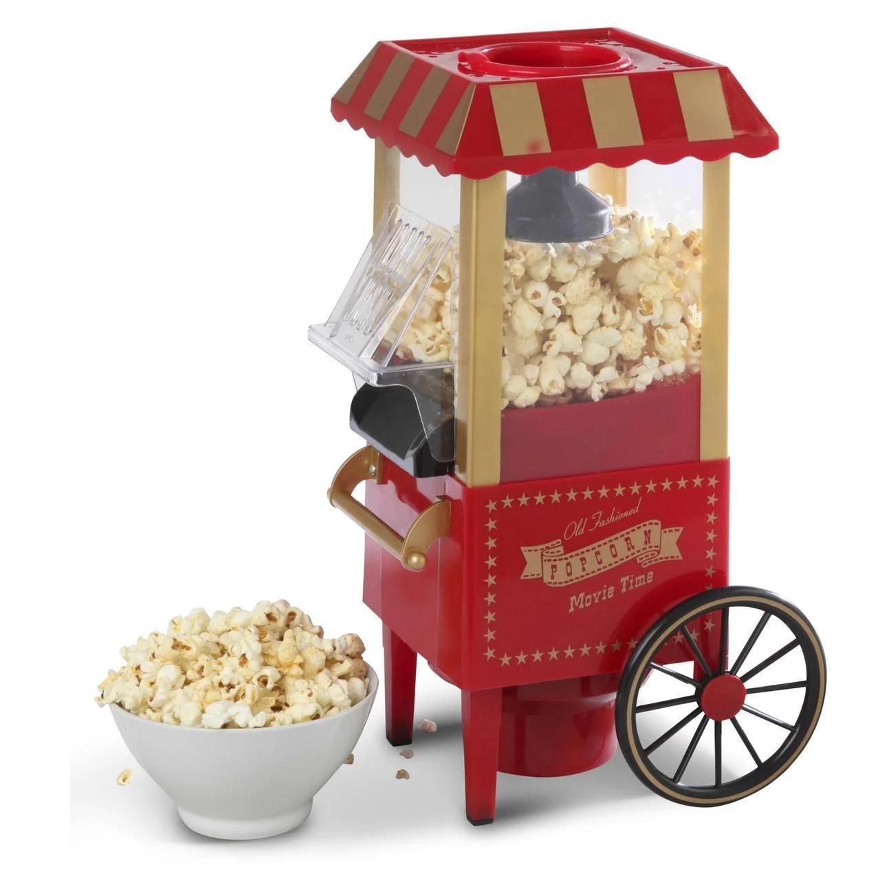 Попкорница, домашнийаппарат-тележка для приготовленияпопкорна Popcorn Movie Time NY-B004 Red
