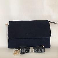 Женская замшевая сумочка-клатч с плечевым ремнем темно-синяя Pretty Woman