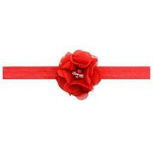 Повязка детская с цветком красная - универсальный (на резинке), цветок 5,5см