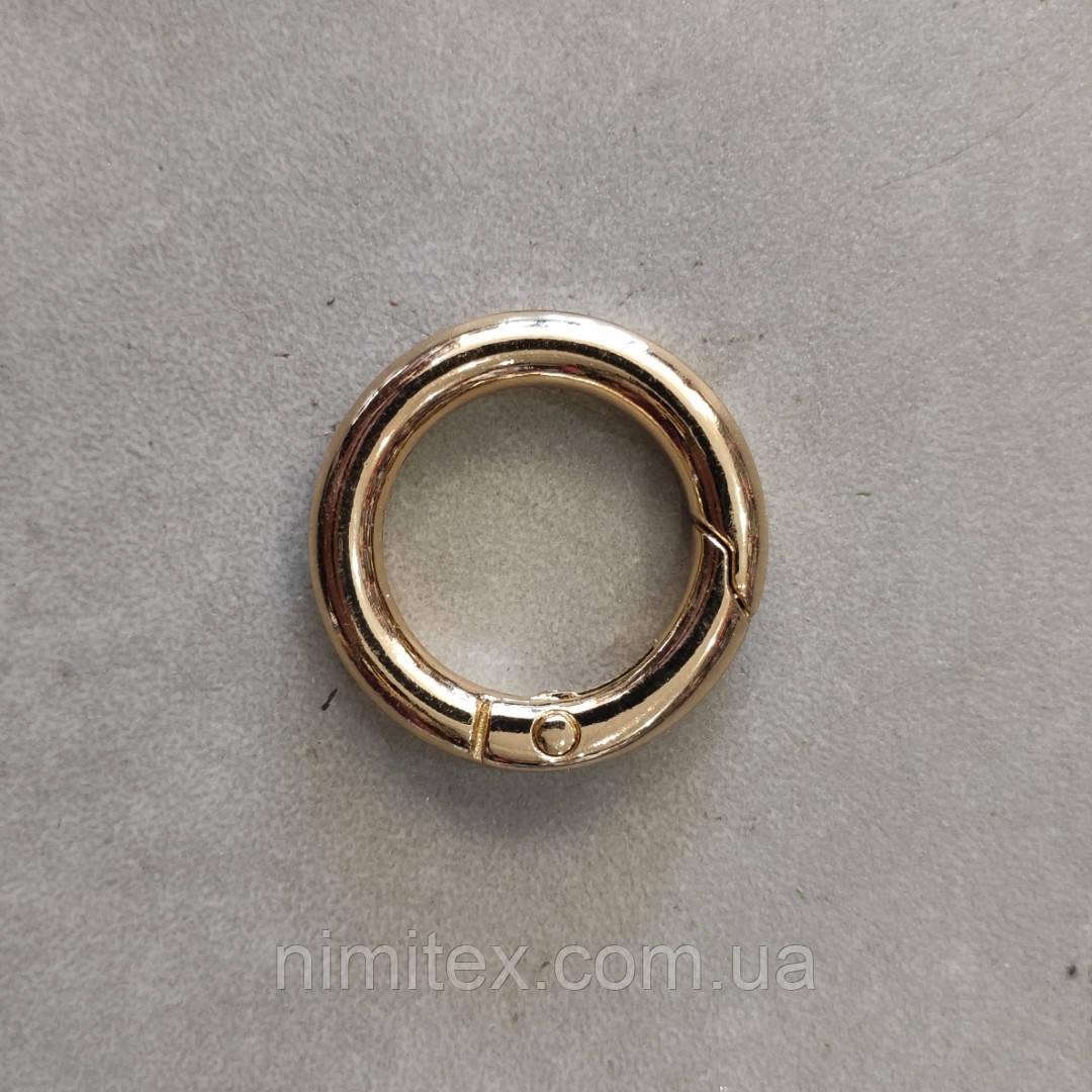 Кольцо-карабин 19 мм светлое золото