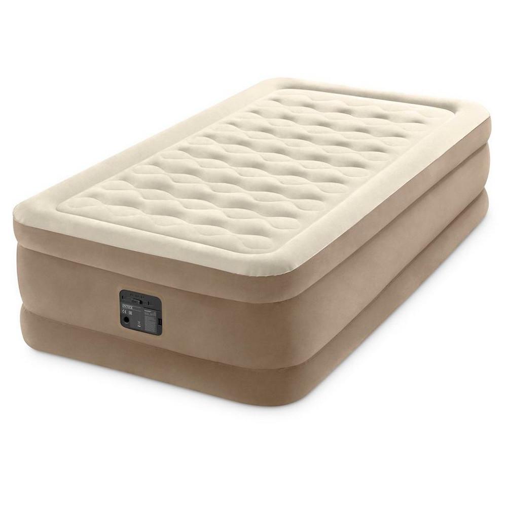 Надувная велюровая кровать Intex 64426 со встроенным электронасосом