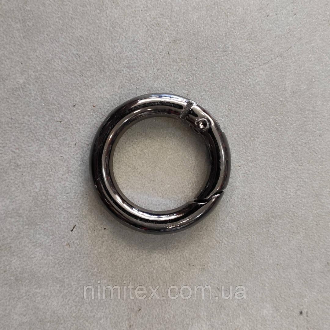 Кольцо-карабин 19 мм черный никель