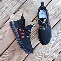 Черные мужские кроссовки носки в стиле Adidas yeezy boost v2 носки на подошве ткань текстиль сетка