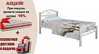 Кровать металлическая Респект Вуд 0,9 бежевая
