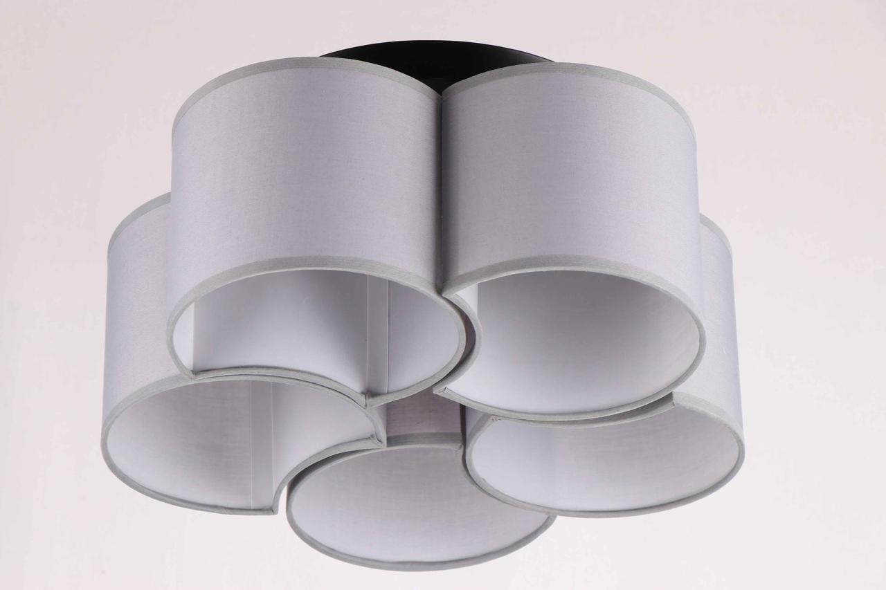 Люстра потолочная на 5 лампочек с тканевыми плафонами  29-K201/5A BK+WT