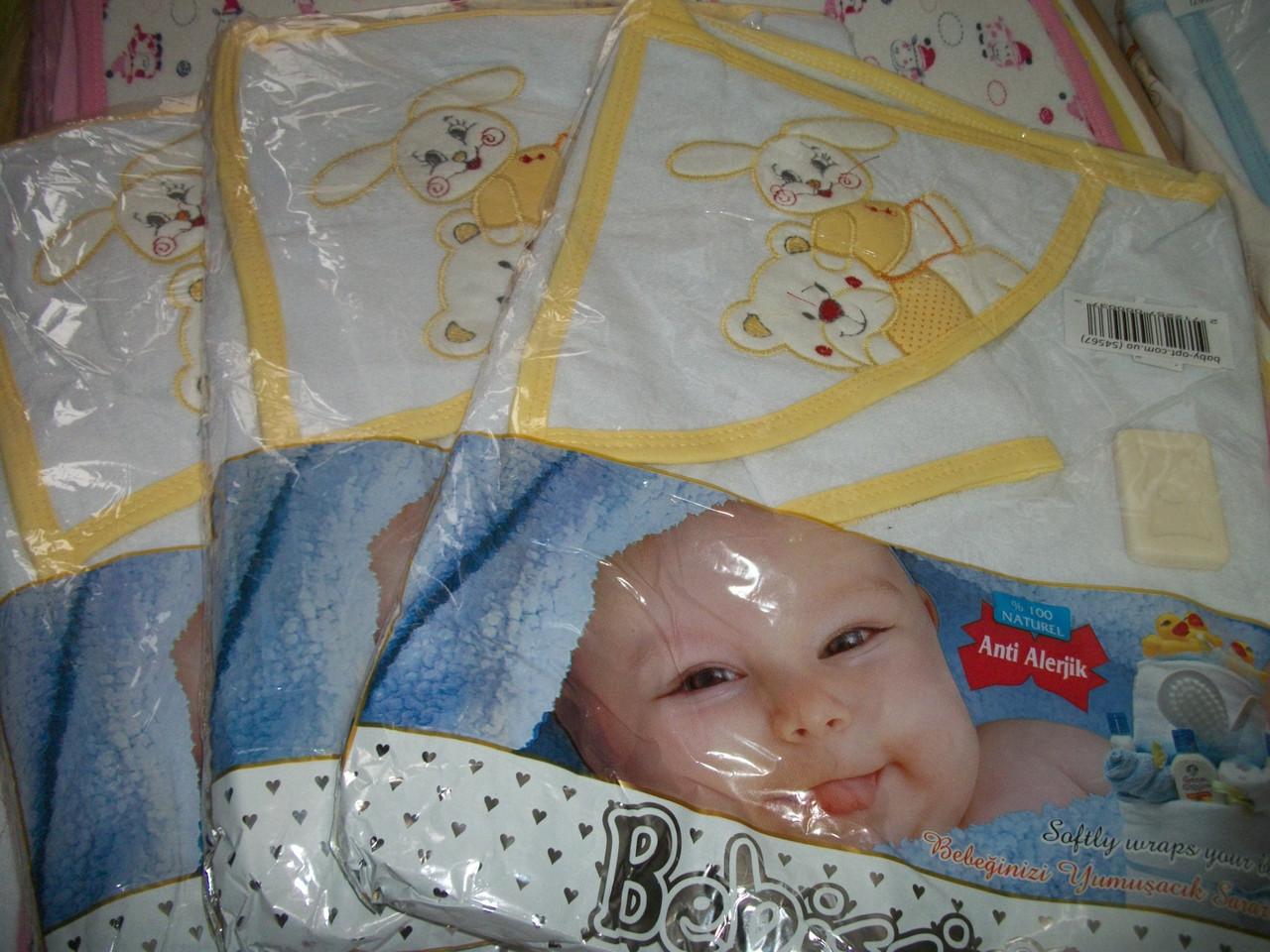 """Детское полотенце с капюшоном и рукавичкой """"Bebissimo""""! В подарок мыло! Турция"""