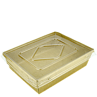 Комплект тарелка-лодочка крафт с крышкой,с ламинацией(900мл), верх 170х135,дно 150х115,высота 48мм,50шт/уп,200шт/ящ, фото 1