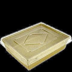 Комплект тарелка-лодочка крафт с крышкой,с ламинацией(900мл), верх 170х135,дно 150х115,высота 48мм,50шт/уп,200шт/ящ