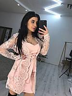 Костюм женский нарядный платье и кружевная накидка Smbl4151