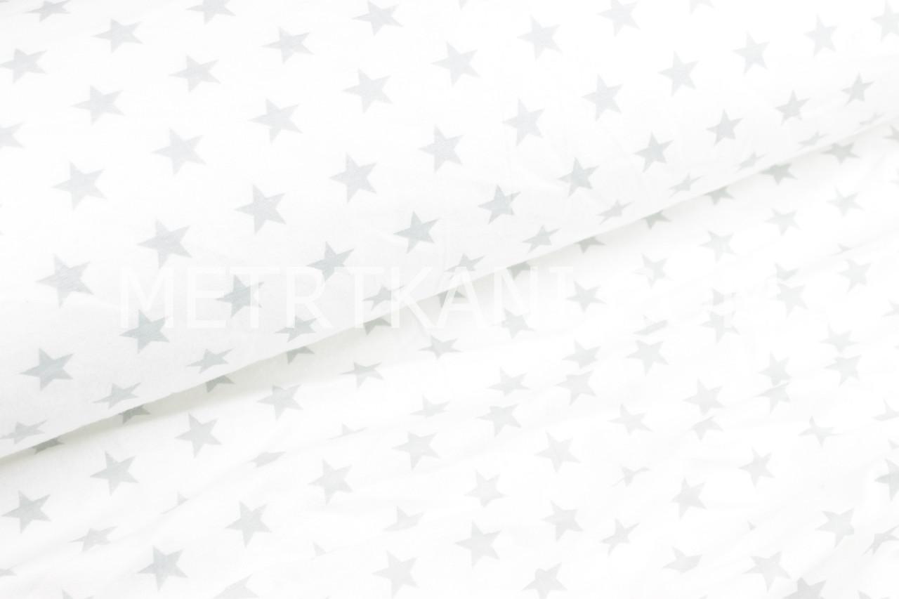Фланель дитяча густі зірки світло-сірого кольору на білому тлі №504
