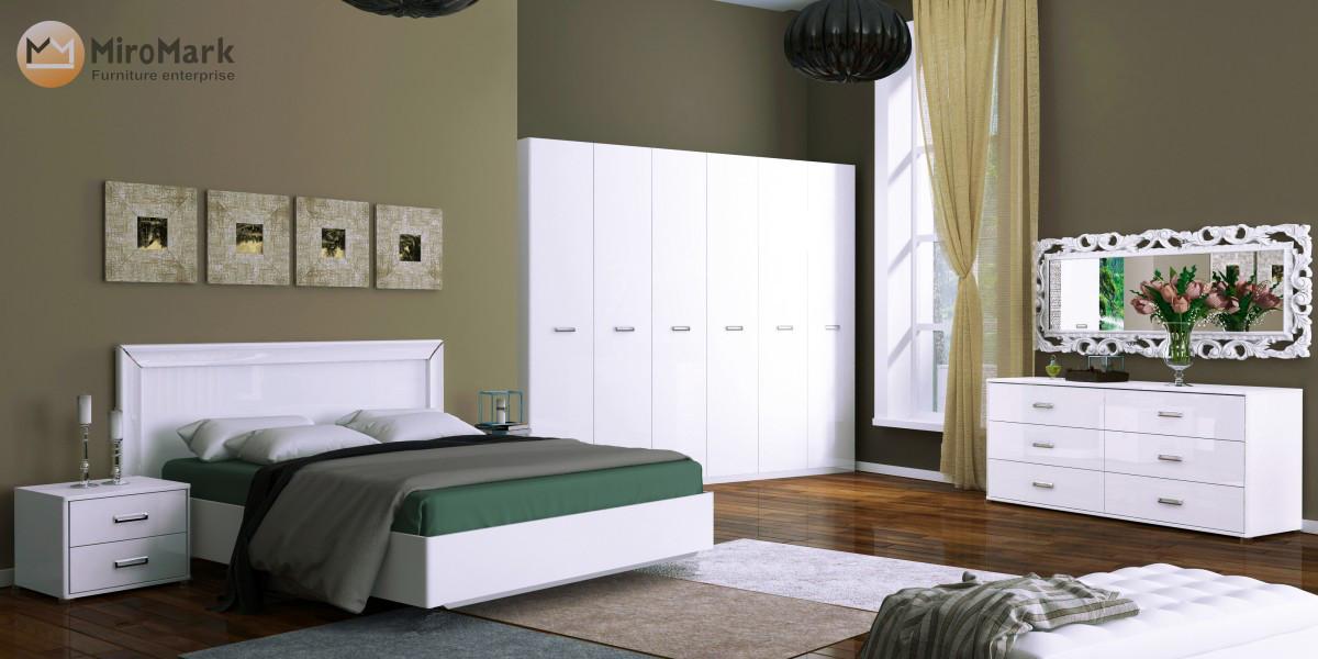 """Спальня """"Белла"""" 3Д Глянец белый MiroMark"""
