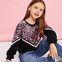Стильний пуловер з паєтками / пуловер с блестками, свитера для девочек, топы, весна, детская одежда