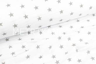 Фланель дитяча зірки 2 см сірого кольору на білому тлі №1688