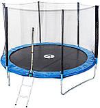 Батут диаметром 312 см оснащен 60 оцинкованными пружинами с сеткой и нагрузкой до 120 кг синий + лестница, фото 2
