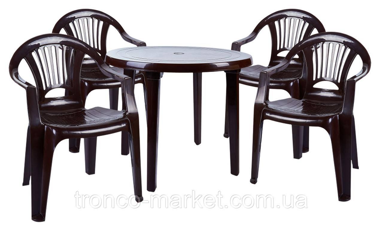 """Набор садовой мебели Стол """"Круг"""" и 4 стула """"Луч"""", коричневый, пластиковый"""