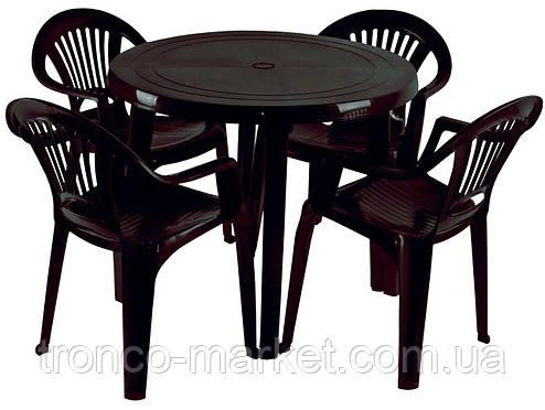 """Набор садовой мебели Стол """"Круг"""" и 4 стула """"Луч"""", коричневый, пластиковый, фото 2"""