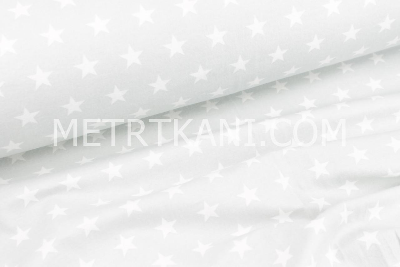 Фланель детская густые звезды  белого цвета на светло-сером фоне  №1689