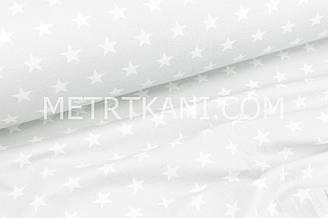 Фланель дитяча густі зірки білого кольору на світло-сірому фоні №1689
