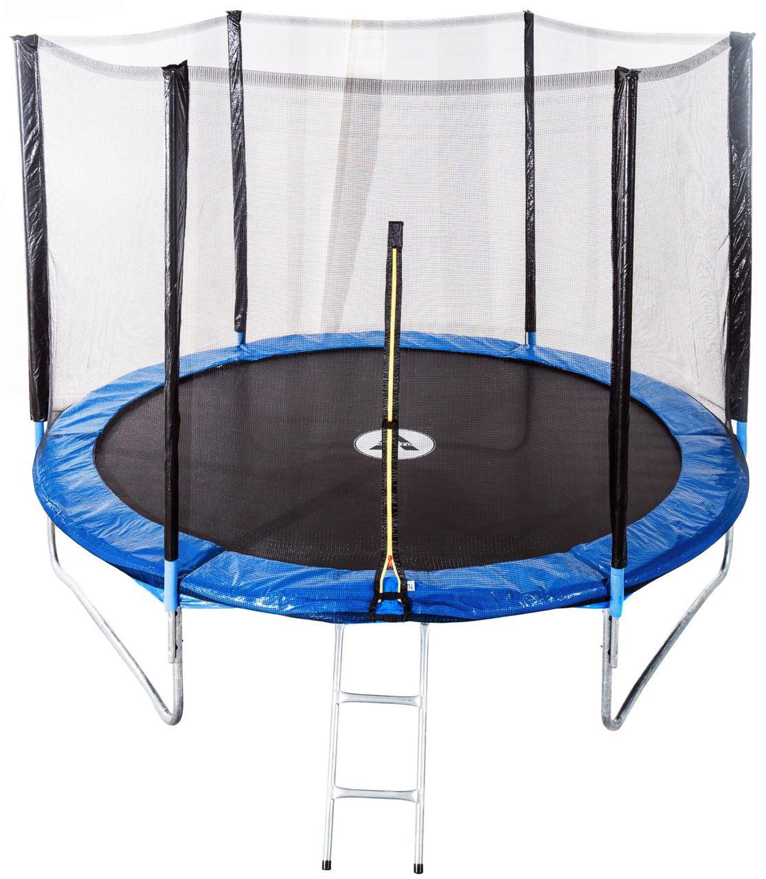 Батут диаметром 312 см оснащен 60 оцинкованными пружинами с сеткой и нагрузкой до 120 кг синий + лестница