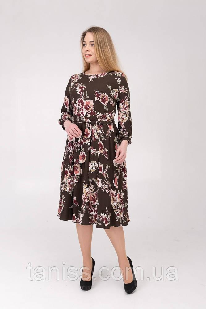 """Женское,стильное,прогулочное платье """"Инес"""", ткань Донна креп,р. 48,54 коричневый,сукня"""