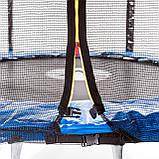 Батут диаметром 312 см оснащен 60 оцинкованными пружинами с сеткой и нагрузкой до 120 кг синий + лестница, фото 4