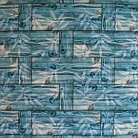 Самоклеящаяся декоративная 3D панель бамбук кладка бирюза 700x700x9 мм (самоклейка, Мягкие 3D Панели), фото 1