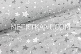"""Фланель дитяча """"Зорепад"""" сірих тонів на сірому тлі №1690"""