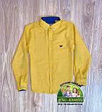 Стильный элегантный костюм Armani для мальчика: желтая рубашка и темно-синие брюки джинсы, фото 2