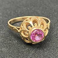 Кольцо с фианитом из золота 583 пробы.