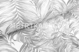 """Фланель дитяча """"Листя папороті"""" сірі на білому тлі №1693"""