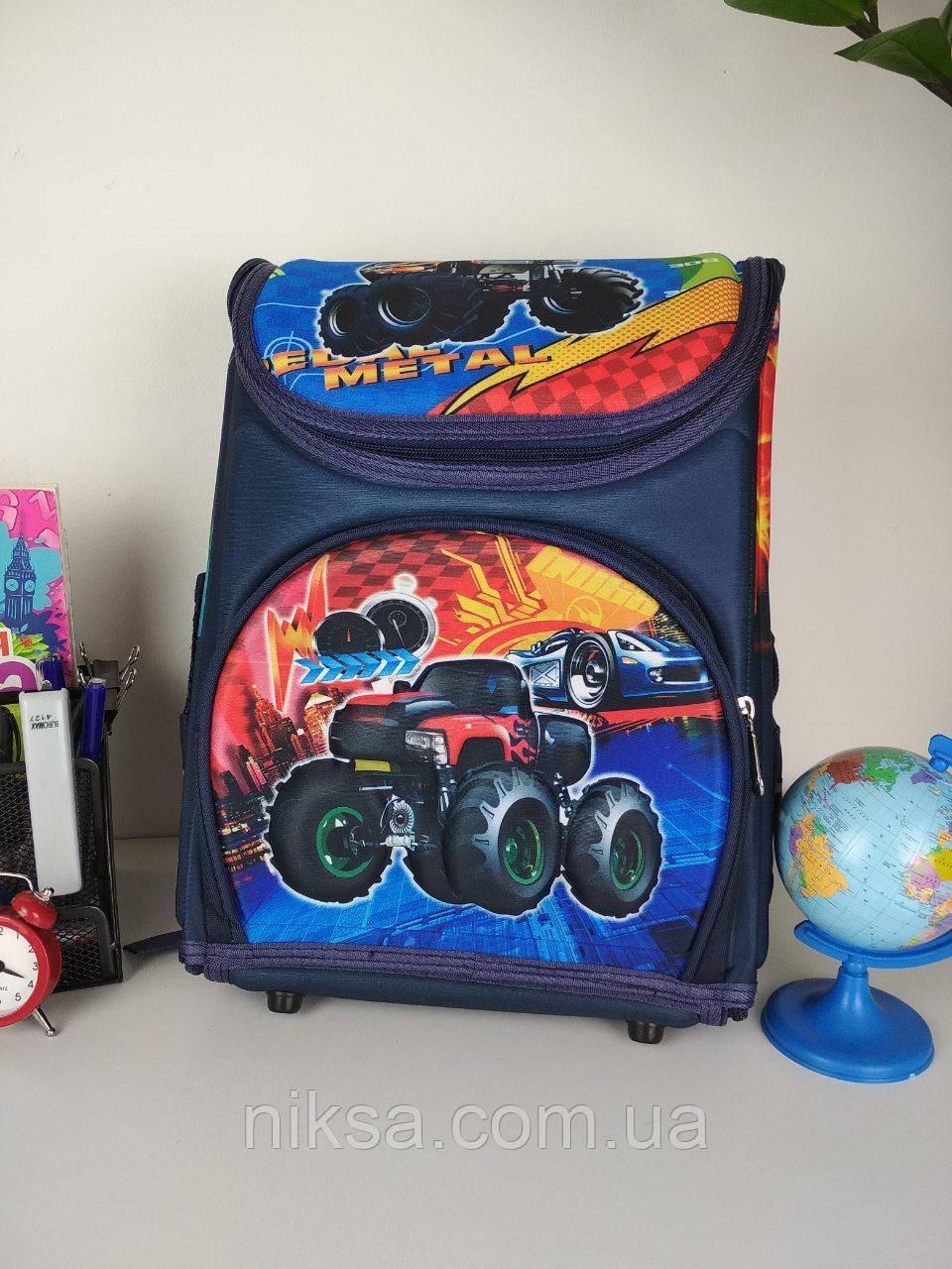 Рюкзак каркасный Машина для мальчиков, каркасный, ортопедическая спинка размер 35х27х20