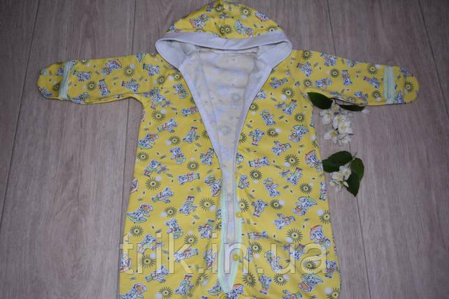 Конверт для новорожденного  хлопковый теплый желтый, фото 2