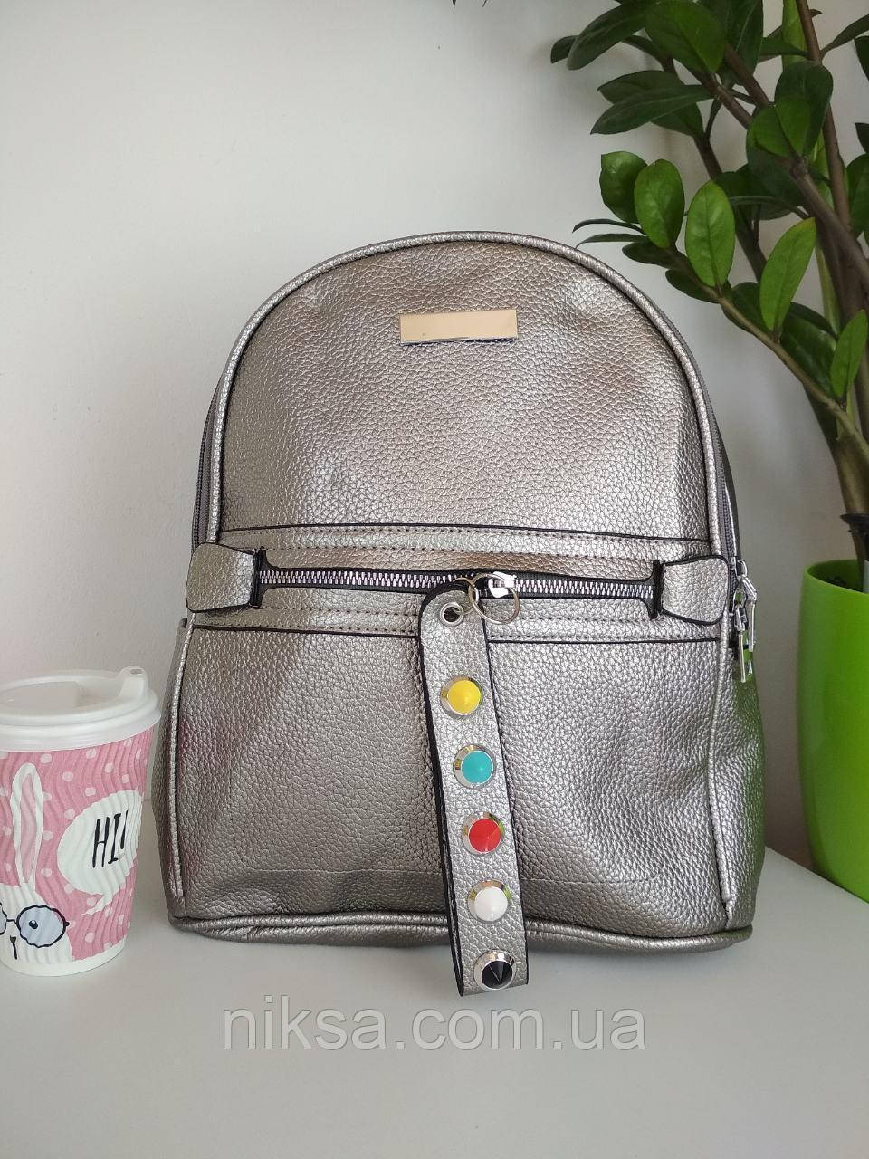 Рюкзак городской кожзам для девочки размер 33x24x12