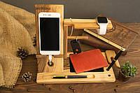 """Подставка-органайзер из дерева для гаджетов Мужской органайзер """"iWatch"""" на рабочий стол"""