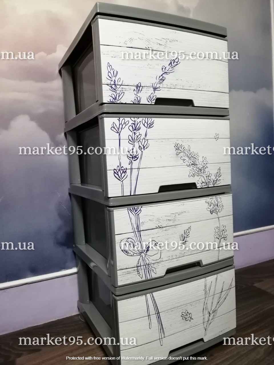 Комод пластиковый Алеана Лаванда 4 полки Темно-серый