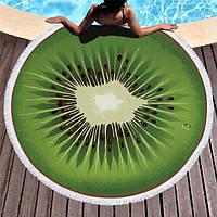 Пляжный коврик Киви с бахромой плотный микрофибра (150 см)