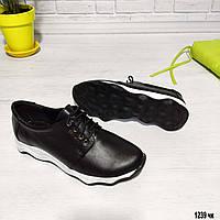 Женские кожаные туфли без каблука