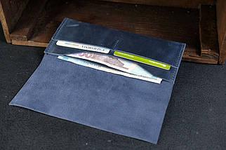 Кошелек клатч Молодежный Винтажная кожа цвет Синий, фото 3