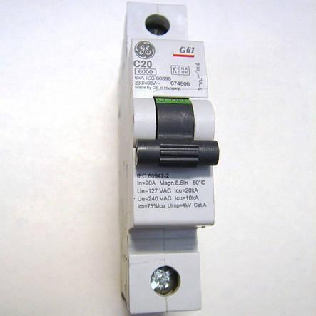 Автоматический выключатель General Electric G61 C20 6kA (674606), фото 2