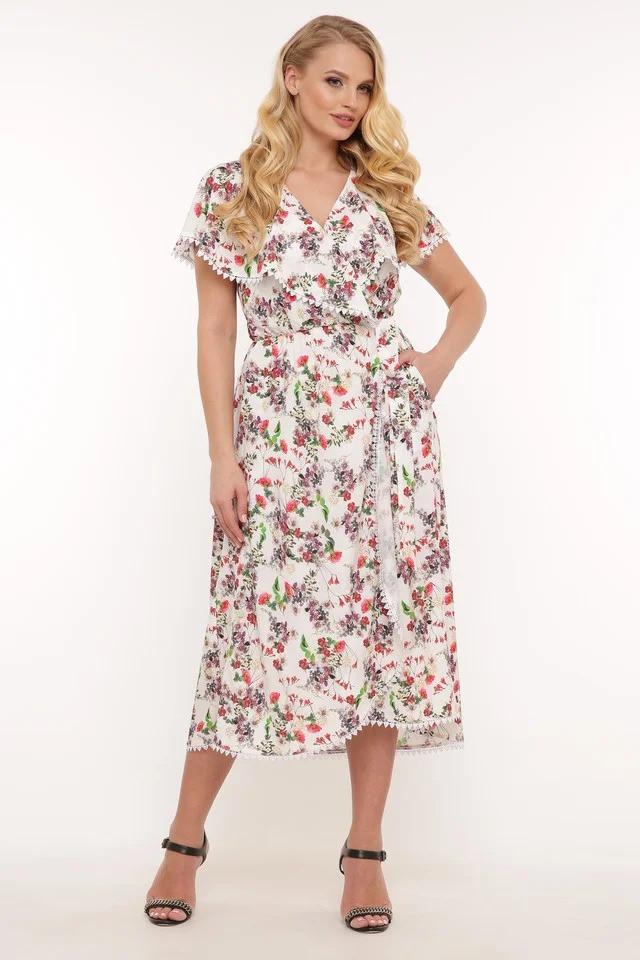Стильное летнее платье на запах Сафина 3 цвета (52-58)