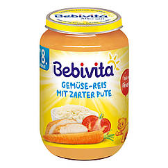 """Bebivita М'ясо-овочеве пюре """"Овочі та рис з ніжною індичкою"""", 220г 8 мiс"""