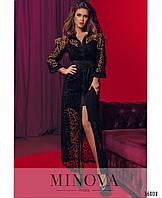 Вечірня сукня максі з софта та сітки з флоком, фото 1