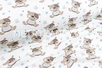 """Фланель дитяча """"Ведмедики Тедді"""" з блакитними зірками №1695"""