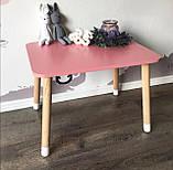 Дитячий стіл і 2 стільці (дерев'яний стільчик зайчик 2 шт і прямокутний стіл), фото 2