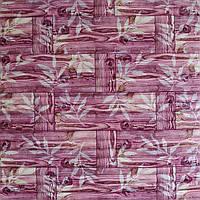 Самоклеящаяся декоративная 3D панель бамбук кладка розовая 700x700x9 мм (самоклейка, Мягкие 3D Панели), фото 1