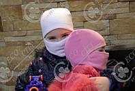 Детская шапка шлем, маска, балаклава.  Полар флис цветной 48, Розовый