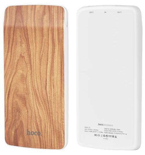 Внешний аккумулятор Hoco J5 Wooden   8000 mAh   Power Bank   Грецкий орех