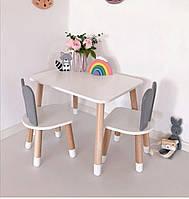 Детский стол и 2 стула (деревянный стульчик зайка 2 шт и прямоугольный стол)