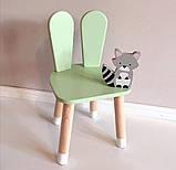 Дитячий стіл і 2 стільці (дерев'яний стільчик зайчик 2 шт і прямокутний стіл), фото 8