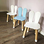 Дитячий стіл і 2 стільці (дерев'яний стільчик зайчик 2 шт і прямокутний стіл), фото 9